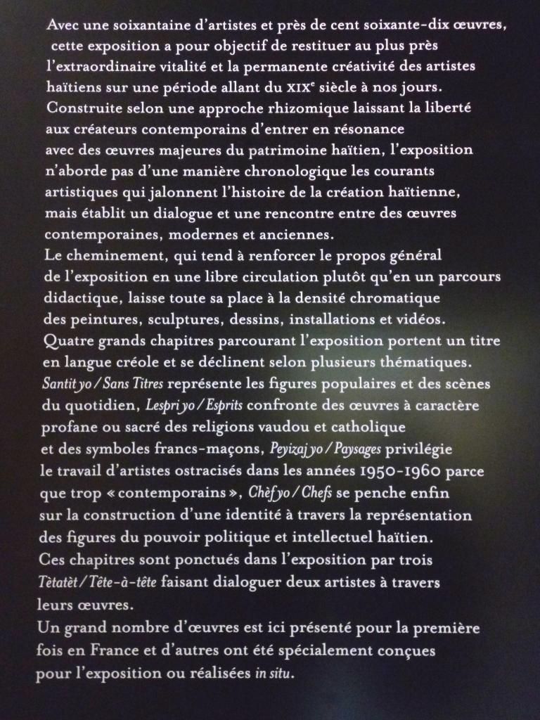 Texte de présentation à l'entrée de l'exposition